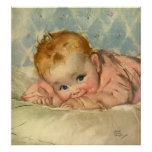 Vintage Children Child, Cute Baby Girl on Blanket Poster