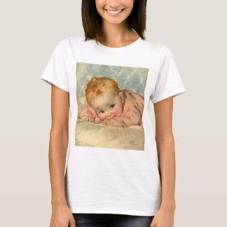 Vintage Children Child, Cute Baby Girl on Blanket T-Shirt