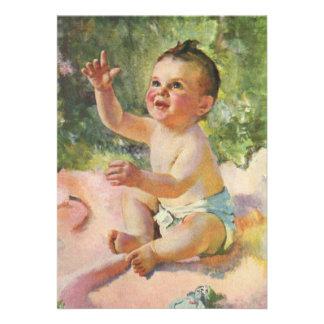 Vintage Children Cute Baby Girl on a Pink Blanket Invitation