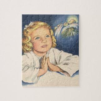 Vintage Children, Cute Girl Praying to Jesus Jigsaw Puzzle
