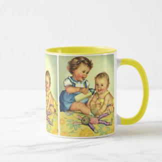 Vintage Children, Cute Happy Toddlers Smile Bottle