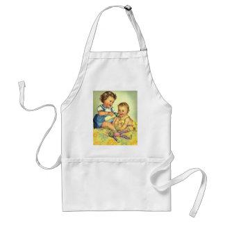 Vintage Children, Cute Happy Toddlers Smile Bottle Standard Apron