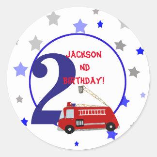 Vintage children firetruck illustration birthday classic round sticker