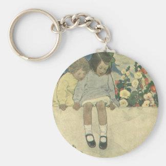 Vintage Children, Garden Wall Jessie Willcox Smith Basic Round Button Key Ring