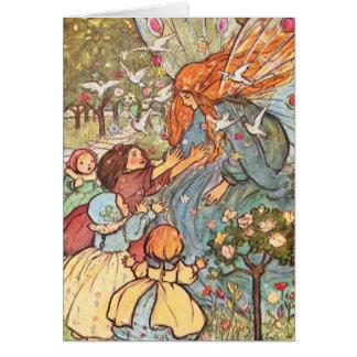 Vintage - Children Greet Fairy, Card