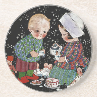 Vintage Children Having a Tea Party with Dolls Beverage Coaster
