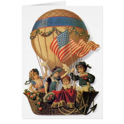 Vintage Children in Hot Air Balloon; Safe Journey Cards