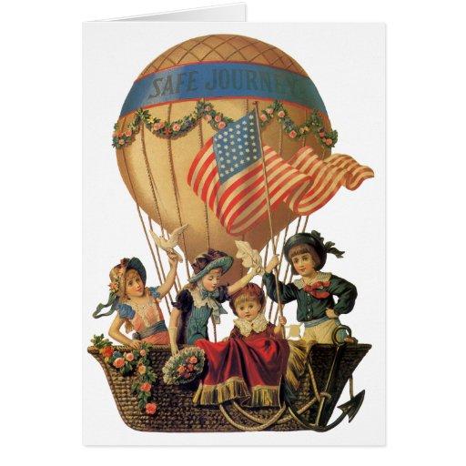 Vintage Children in Hot Air Balloon; Safe Journey Greeting Cards