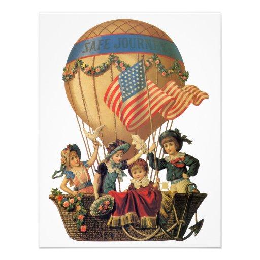 Vintage Children in Hot Air Balloon; Safe Journey Invitations