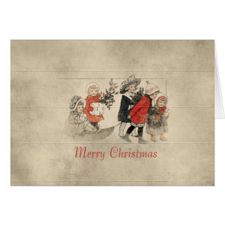 Vintage Children in Snow Wood Christmas Card