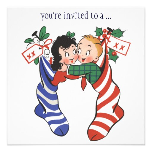 Vintage Children in Stockings, Christmas Party Custom Announcement