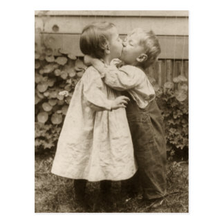 Vintage Children Kissing in a Garden Save the Date Postcard