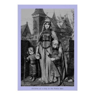 Vintage - Children of a King in Middle Ages Poster