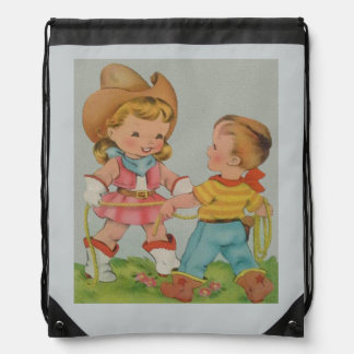 Vintage children playing drawstring backpack