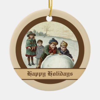 Vintage children playing in winter christmas ornaments