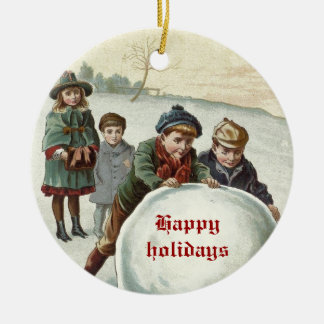 Vintage Children playing in winter Ornaments