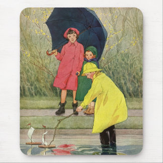 Vintage Children Playing Puddles Toy Boats Rain Mouse Pad