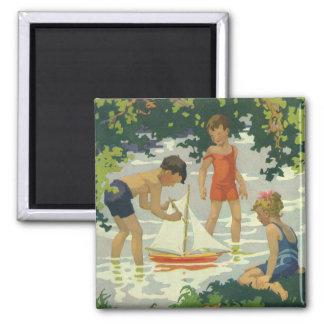 Vintage Children Playing Toy Sailboats Summer Pond Refrigerator Magnets