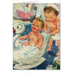 Vintage Children Playing w Bubbles in Swan Bathtub Greeting Card