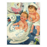 Vintage Children Playing w Bubbles in Swan Bathtub Invites