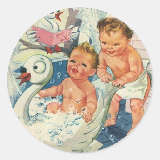 Vintage Children Playing w Bubbles in Swan Bathtub Round Stickers