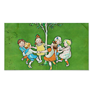 Vintage Children poster, playful children dancing Poster
