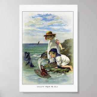 Vintage Children put Doll to Sea Poster
