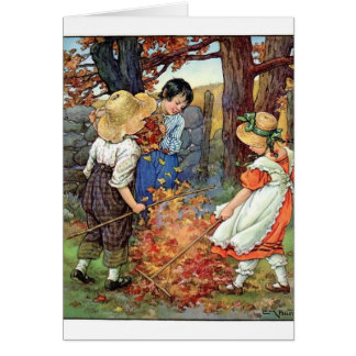 Vintage - Children Raking Fall Leaves, Card