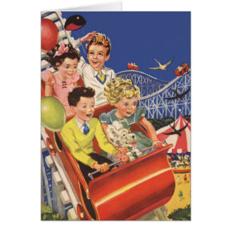 Vintage Children Roller Coaster Birthday Party Greeting Card