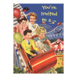 Vintage Children Roller Coaster Fun Birthday Party Personalised Announcements