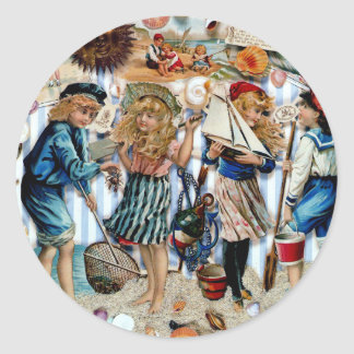 Vintage Children Sea Shells Holiday Boys Girls Classic Round Sticker
