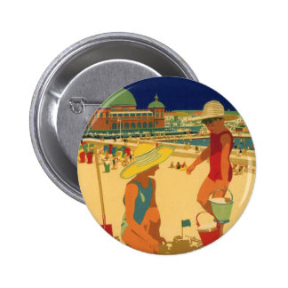Vintage Children, Sisters Family Vacation at Beach 6 Cm Round Badge