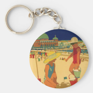 Vintage Children, Sisters Family Vacation at Beach Basic Round Button Key Ring