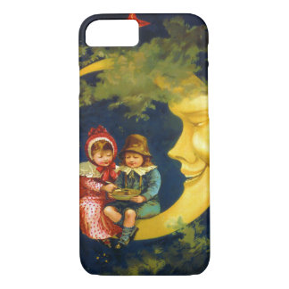 Vintage children sitting on the crescent moon iPhone 7 case