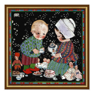 "Vintage Children Tea Party with Dolls Birthday 5.25"" Square Invitation Card"