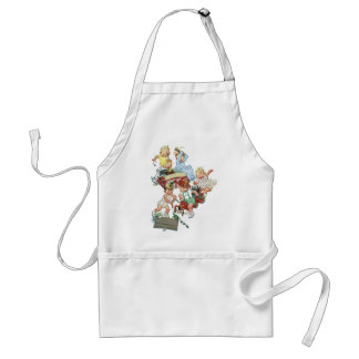 Vintage Children Toddlers Playing with Fire Trucks Aprons