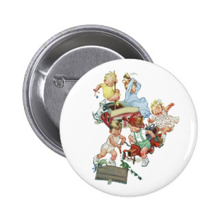 Vintage Children Toddlers Playing with Fire Trucks 6 Cm Round Badge