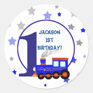Vintage children train illustration birthday round sticker