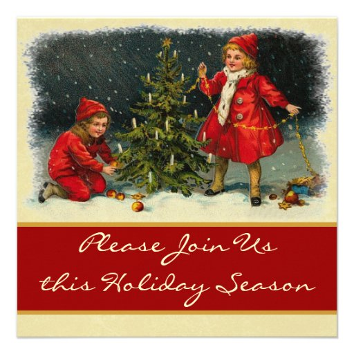 Vintage Children Trimming Tree Holiday Party Announcements