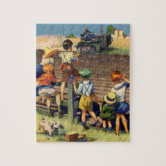 Vintage Children Waving to Local Farmer on Tractor Jigsaw Puzzle
