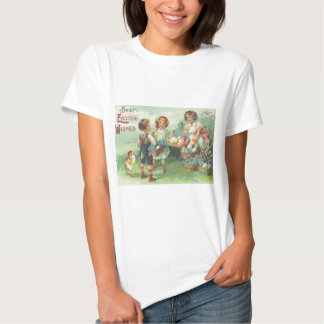 Vintage Children With Easter Eggs Easter Card Tees