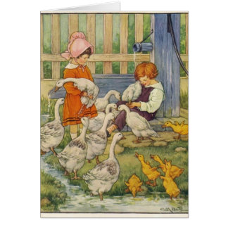 Vintage - Children with Geese & Goslings, Card