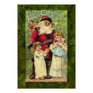 Vintage Children with Santa Claus Christmas Poster