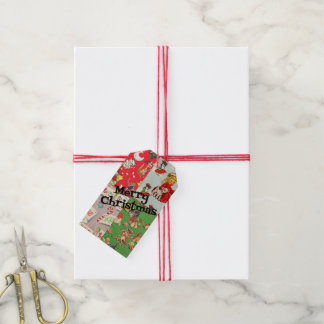 Vintage children's Christmas wrapping paper tags