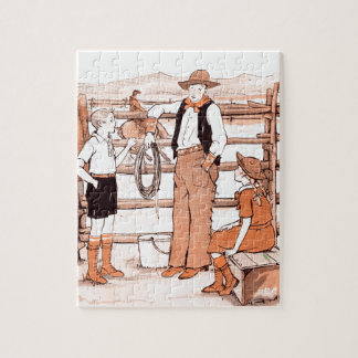 Vintage Child's Book - Talking to the Cowboy Jigsaw Puzzle