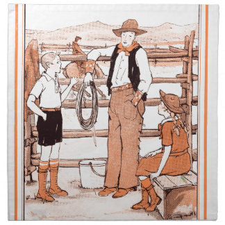 Vintage Child's Book - Talking to the Cowboy Napkin