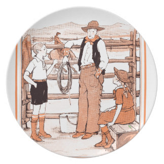 Vintage Child's Book - Talking to the Cowboy Plate