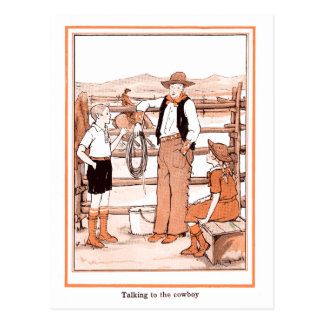 Vintage Child's Book - Talking to the Cowboy Postcard