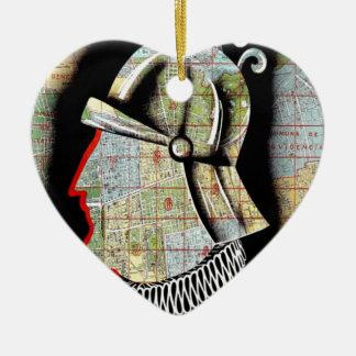 Vintage Chile Santiago Travel Ceramic Heart Decoration