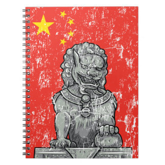 vintage china chines statue notebook